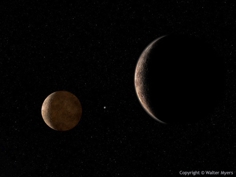 Pluto and its large moon Charon